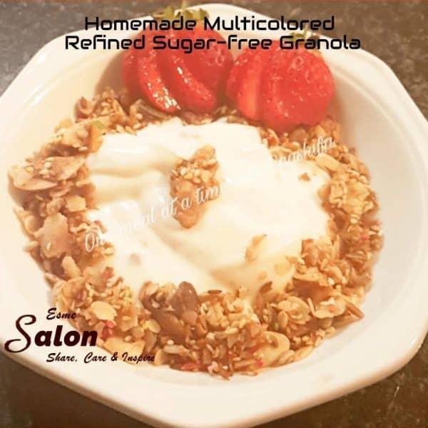 Homemade Multicolored Refined Sugar-free Granola