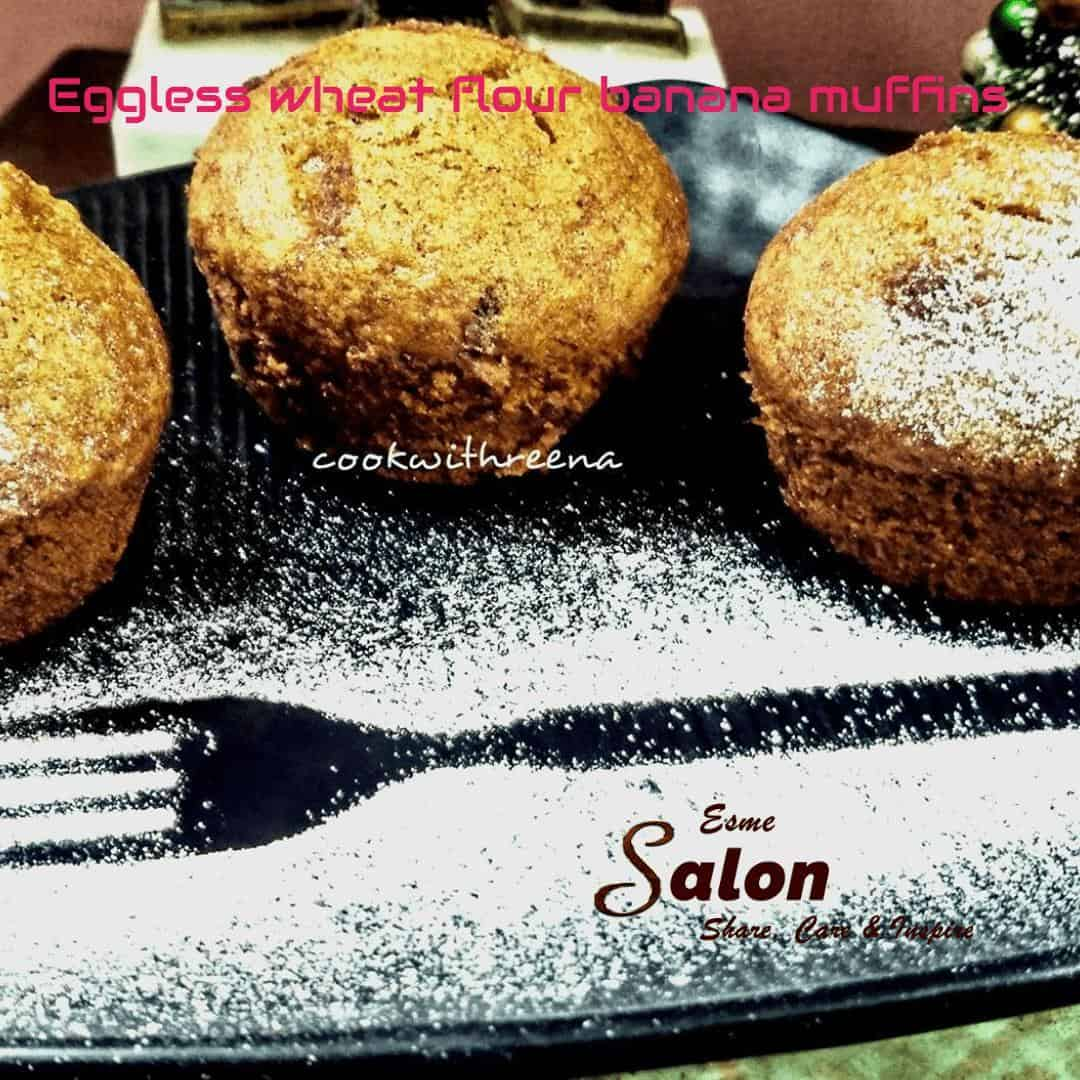 Eggless Wheat Flour Banana Muffins