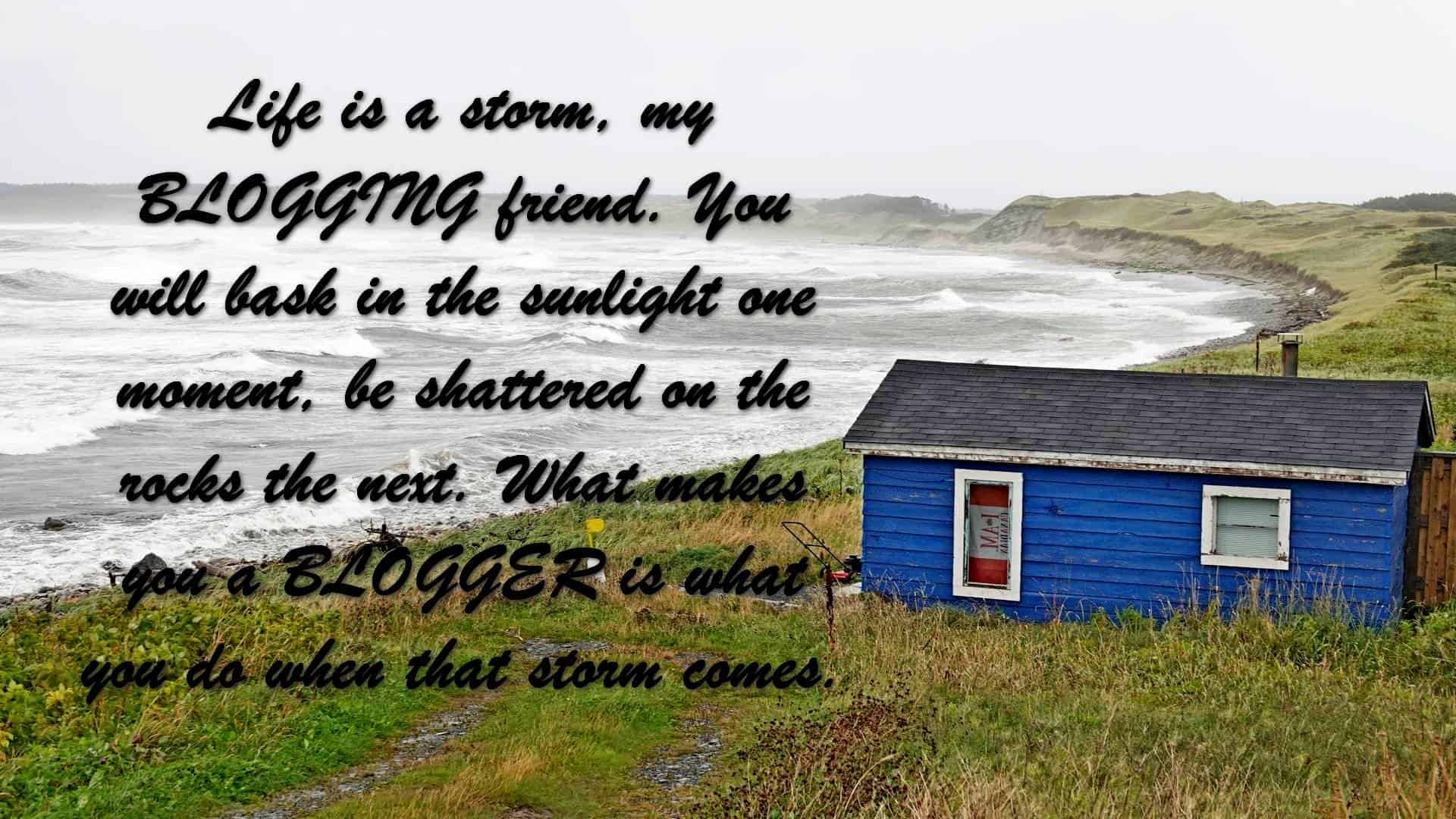 Life is a storm, my BLOGGING friend. You will bask in the sunlight one moment, be shattered on the rocks the next. What makes you a BLOGGER is what you do when that storm comes.