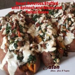 Sweet Potatoes Stuffed with Spinach and Beans with Tahini
