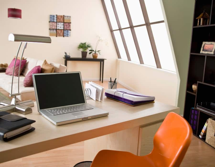 Inside of home office with desk
