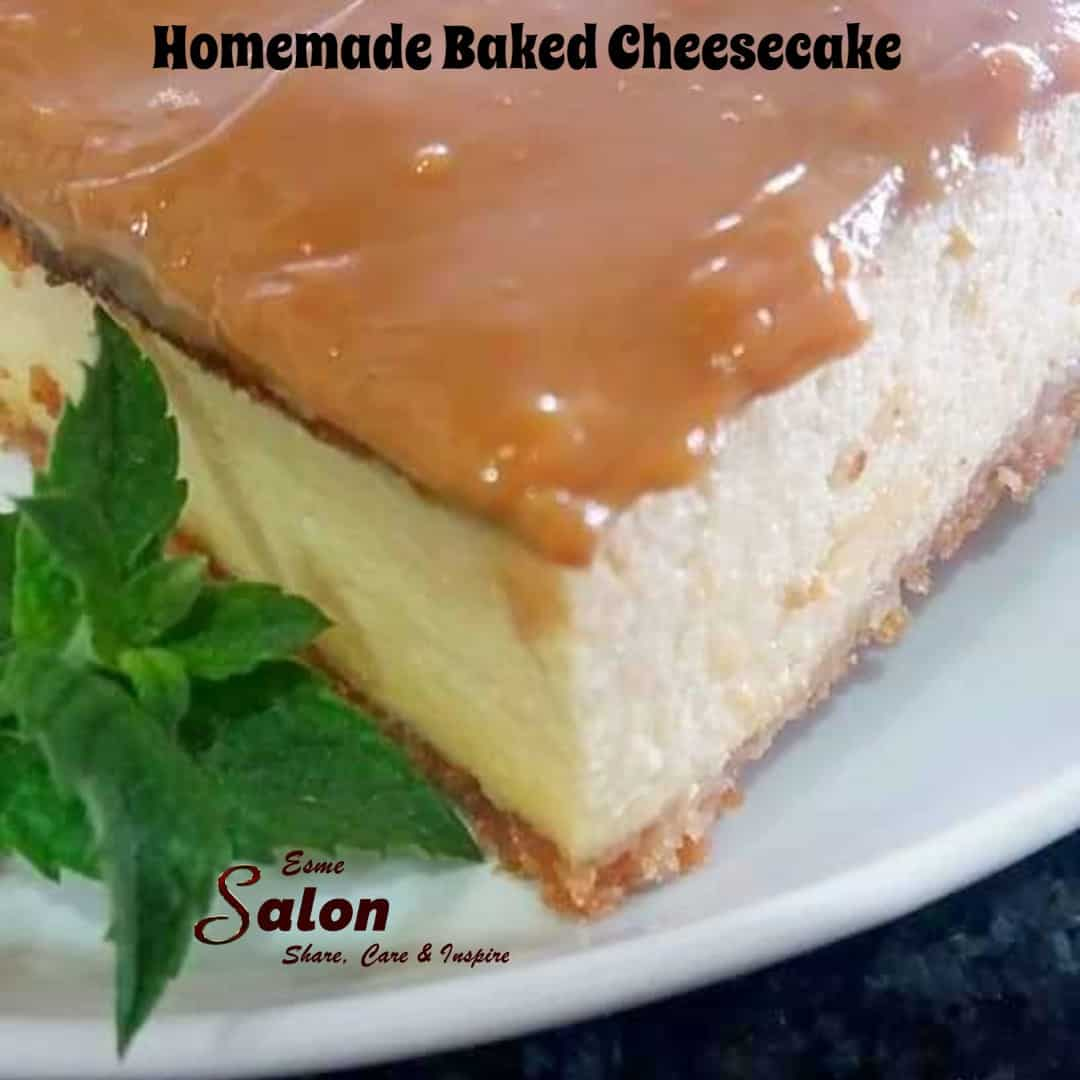 Creamy Cheesecake topped with caramel