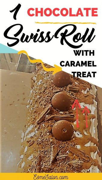 Swiss Roll with Caramel and Chocolate toppings