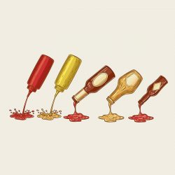 Different sauces are poured from bottles. Ketchup, mayonnaise, mustard, chilli sauce and others