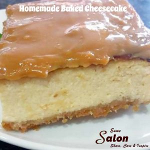 Slice of cheesecake with Caramel topping
