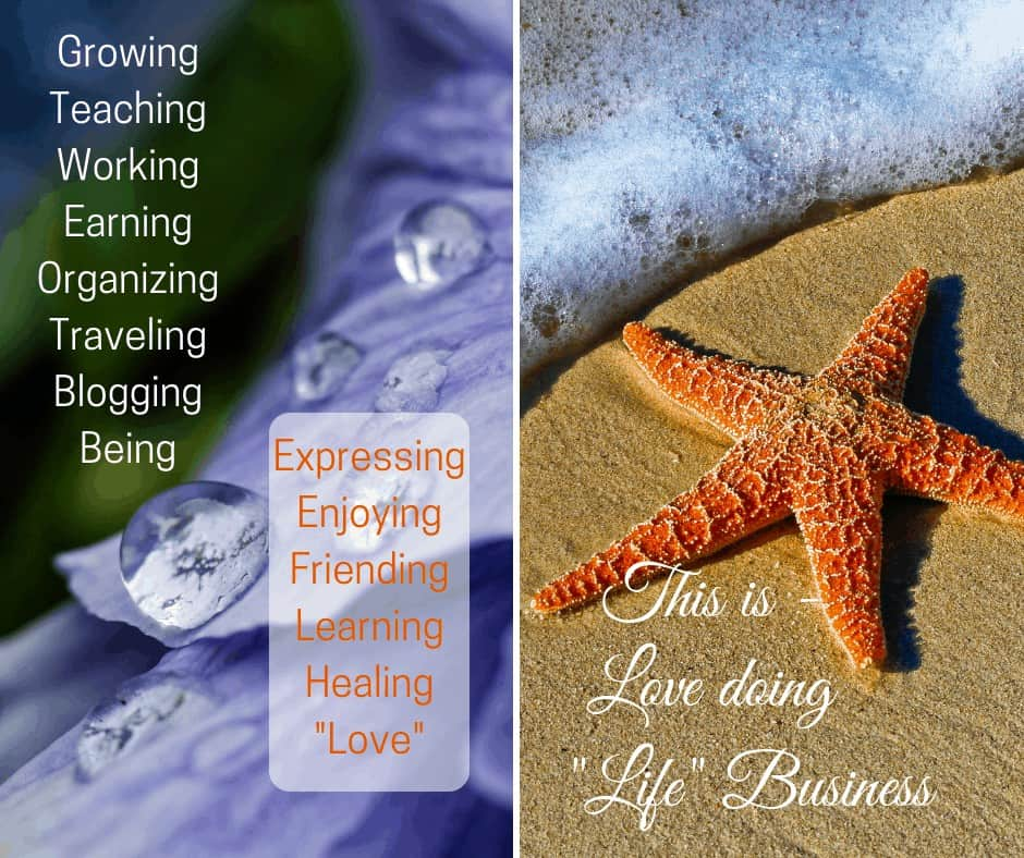 Star fish on sea shore and raindrops on diagram with Love doing Life Business