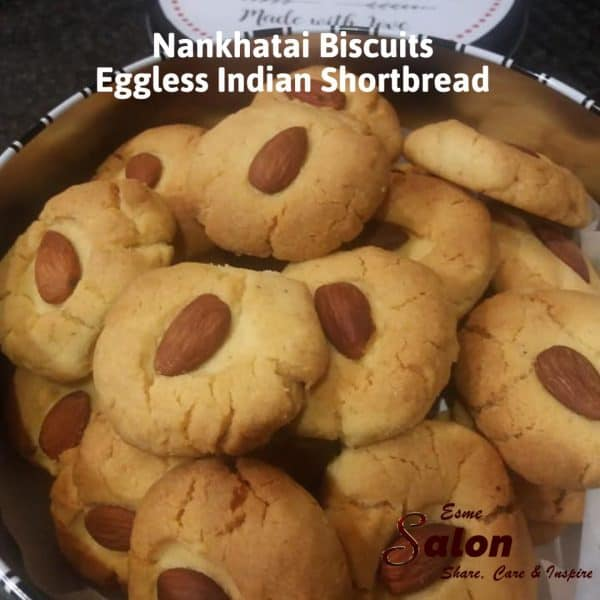 Tin filled with Eggless Indian Shortbread Cookies