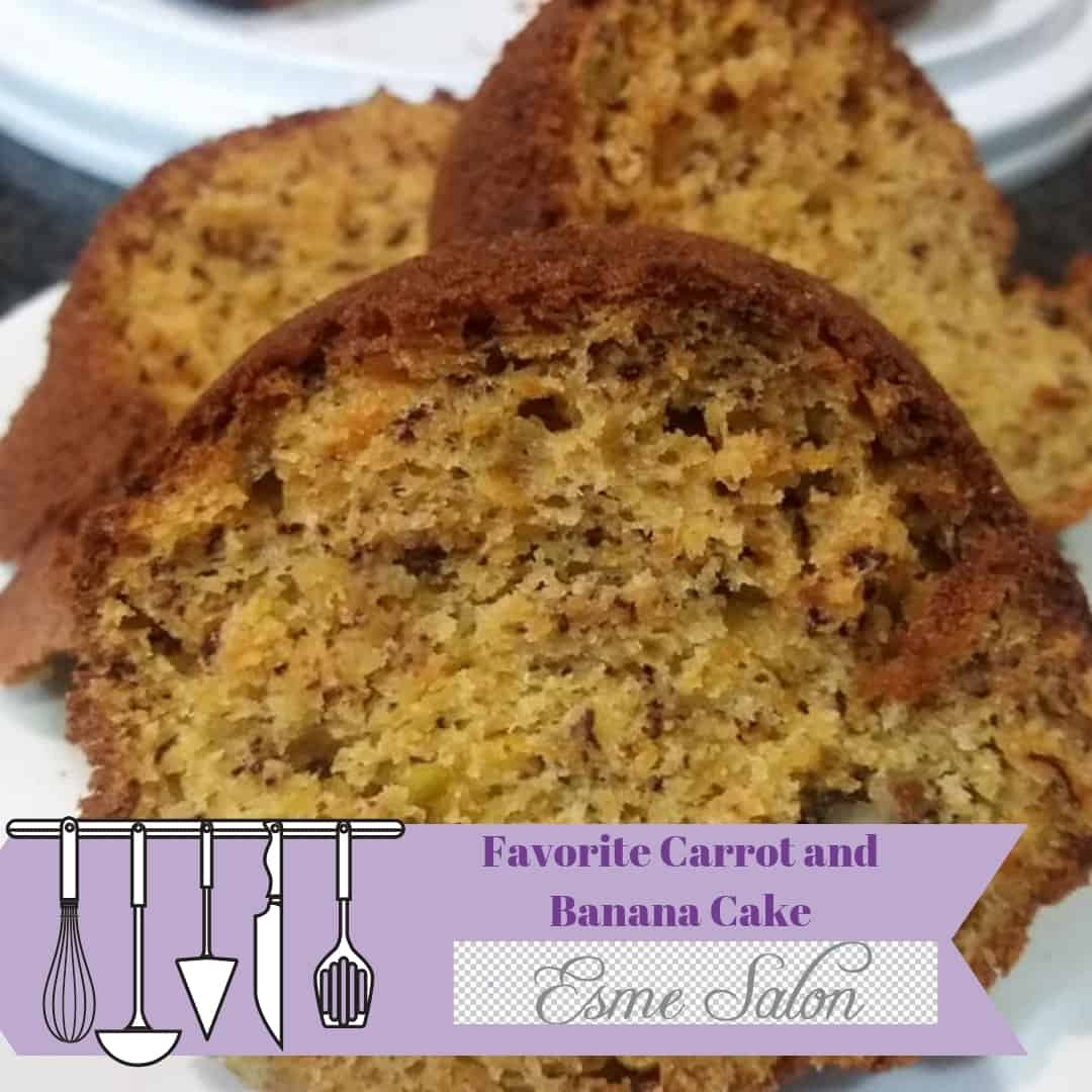 3 Sliced of delicious Carrot and Banana Cake
