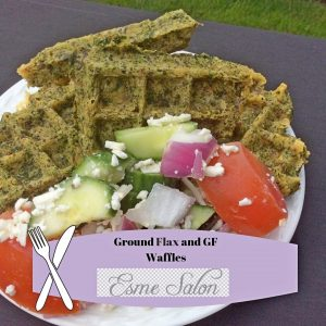 Ground Flax and GF Waffles served with Greek Salad the next day