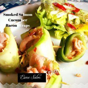 Smoked Salmon Cucumber Bacon Wraps