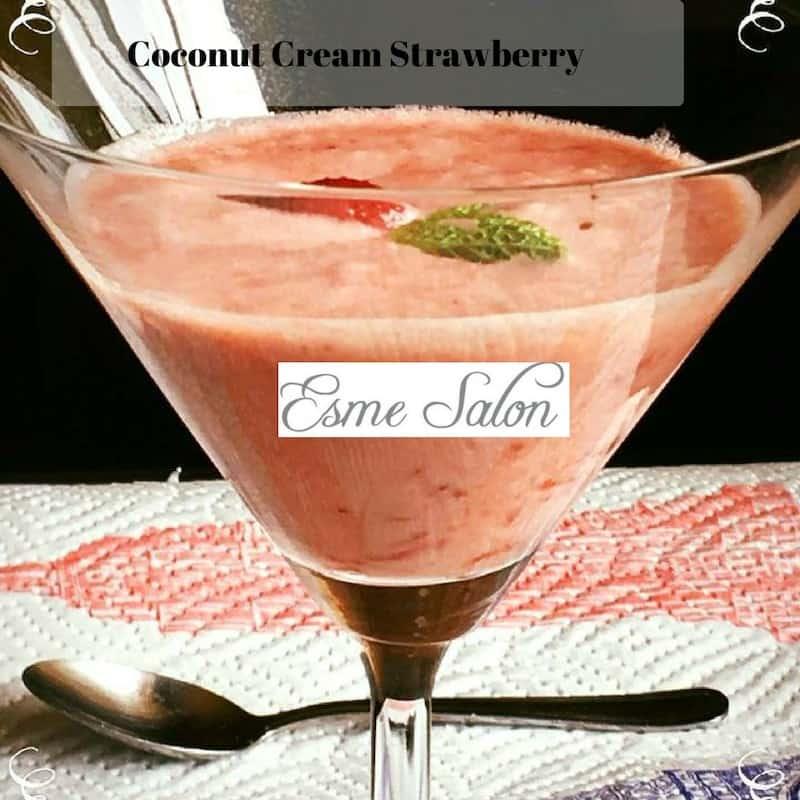 Glass full of Coconut Cream Strawberry