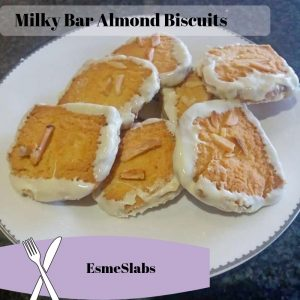 7 Milky Bar Almond Biscuits on a white plate