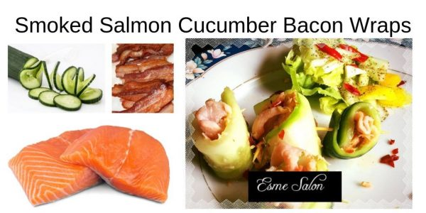 Smoked Salmon Cucumber Bacon Wraps