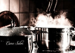 Large pot cooking on stove