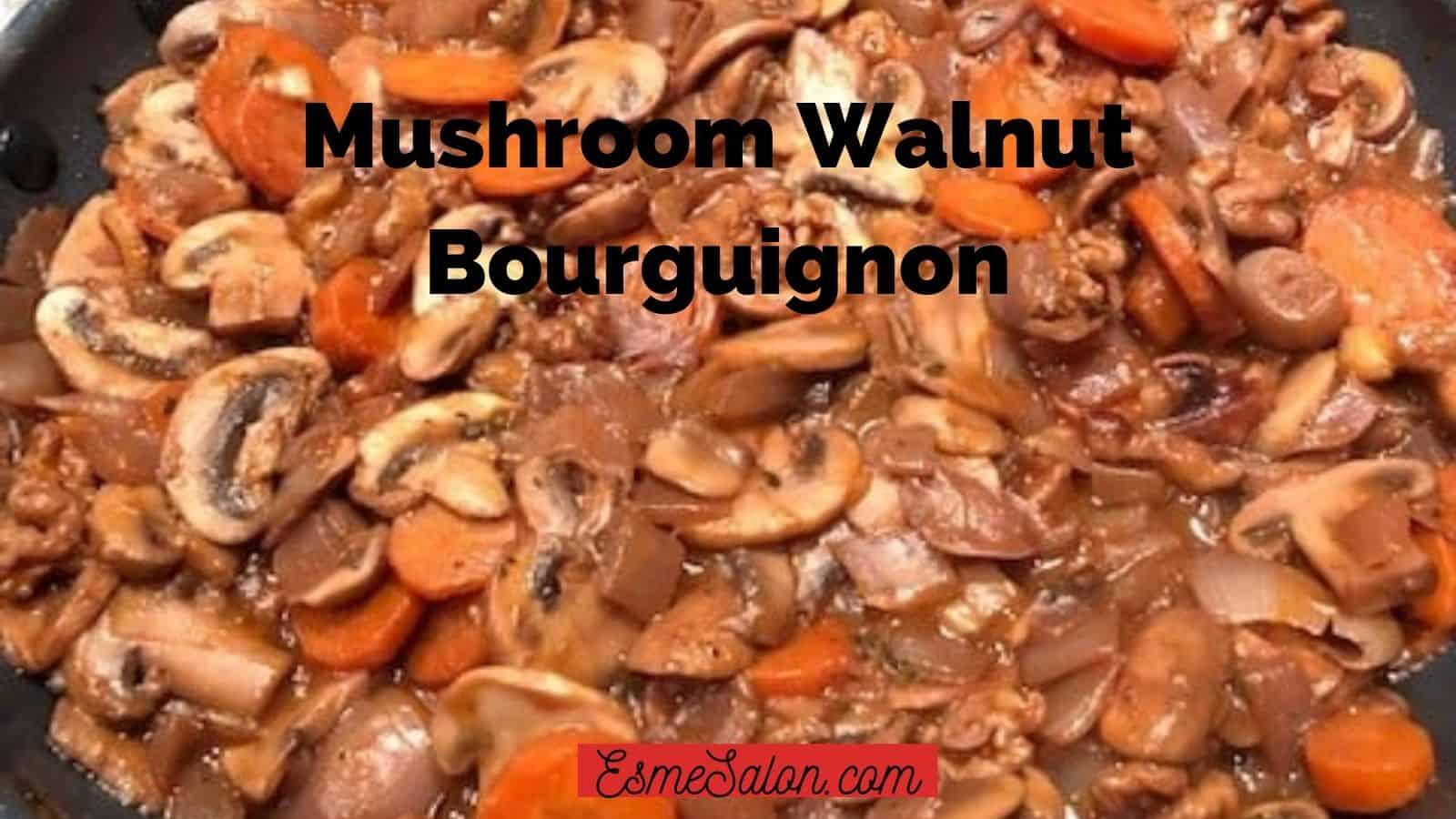 Mushroom Walnut Bourguignon with Cauliflower Mash (Vegan)