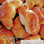 A bowl full Freezer friendly Arabic Dough Bread rolls