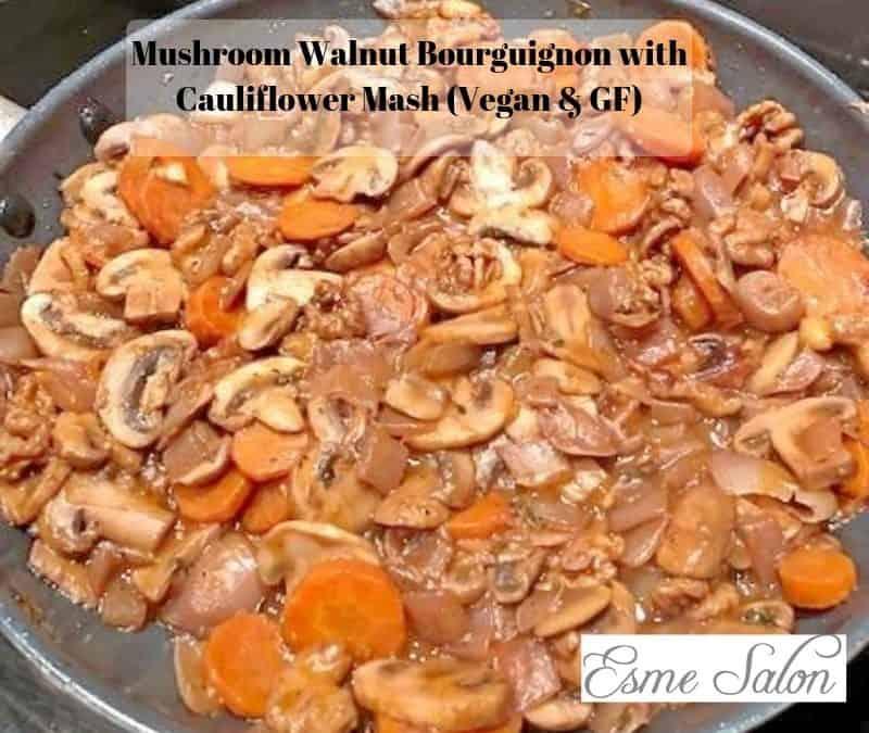 Mushroom Walnut Bourguignon with Cauliflower Mash