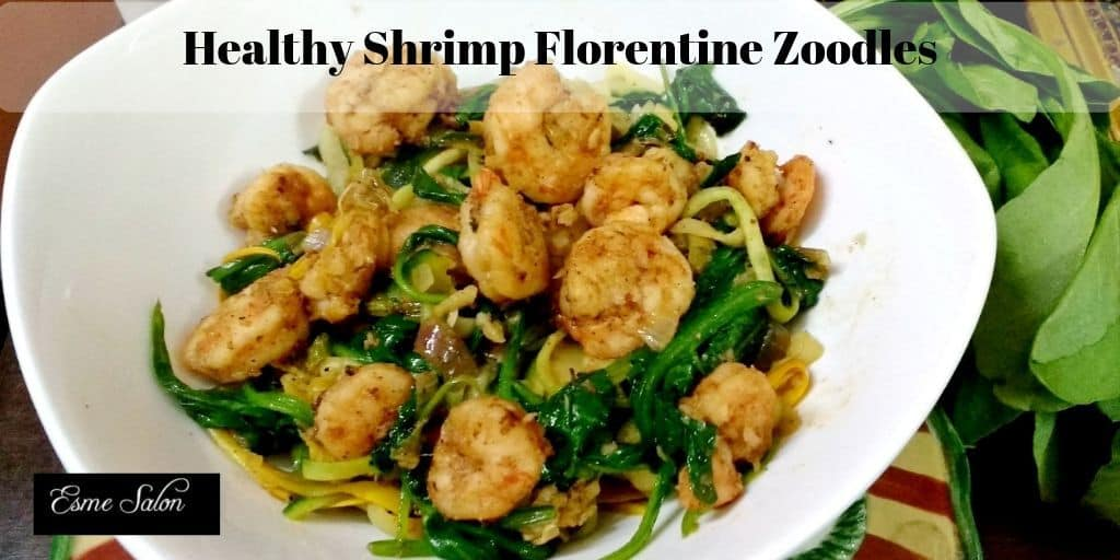 Healthy Shrimp Florentine Zoodles