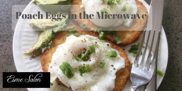Two microwave poached eggs on Hash browns