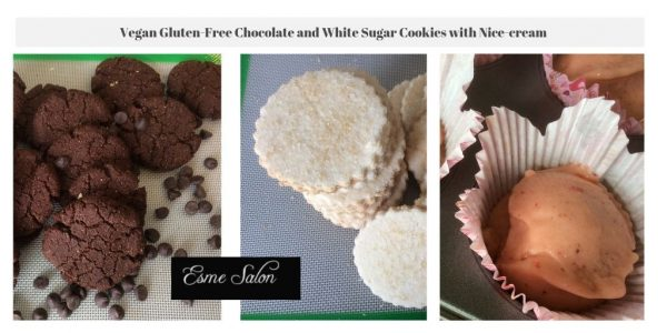 Vegan Gluten-Free Chocolate and White Sugar Cookies with Nice-creams