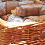 Wicker basket filled with Salami