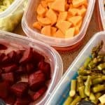 Prepared and chopped Vegetable and Chickpea Salad ingredients