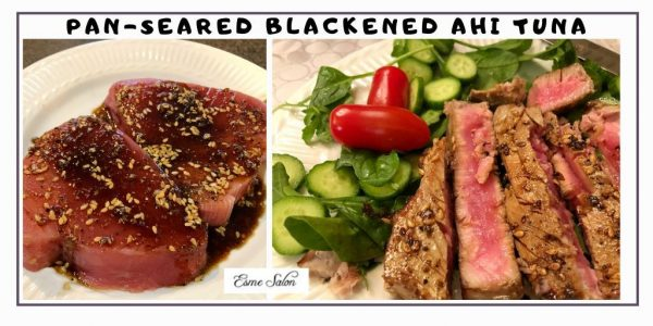Raw and plated Pan-Seared Blackened Ahi Tuna