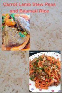 Carrot Lamb Stew Peas and Basmati Rice