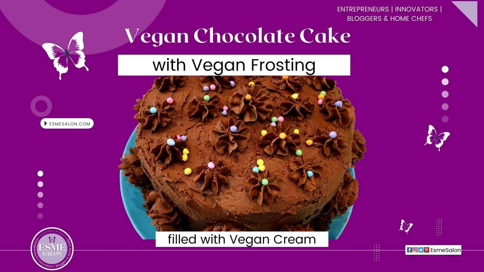 A Vegan Chocolate Cake with vegan cream and vegan chocolate topping with colored sprinkles