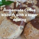 Coffee biscuits with a sugar dusting