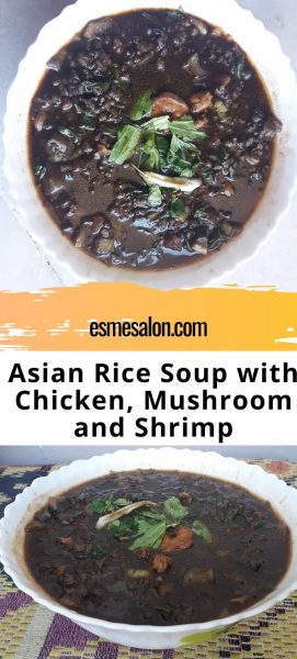 2 bowls of Asian Rice Soup with Chicken, Mushroom and Shrimp