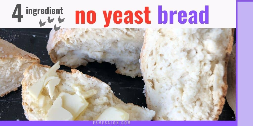 Broken open and buttered no yeast bread