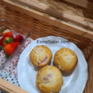 Picnic basket of strawberry muffins