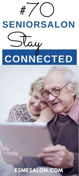 Two seniors connecting via laptop with family