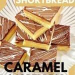 Caramel shortbread, also known as caramel shortcake, caramel squares, caramel slice, millionaire's shortbread, and millionaire's slice