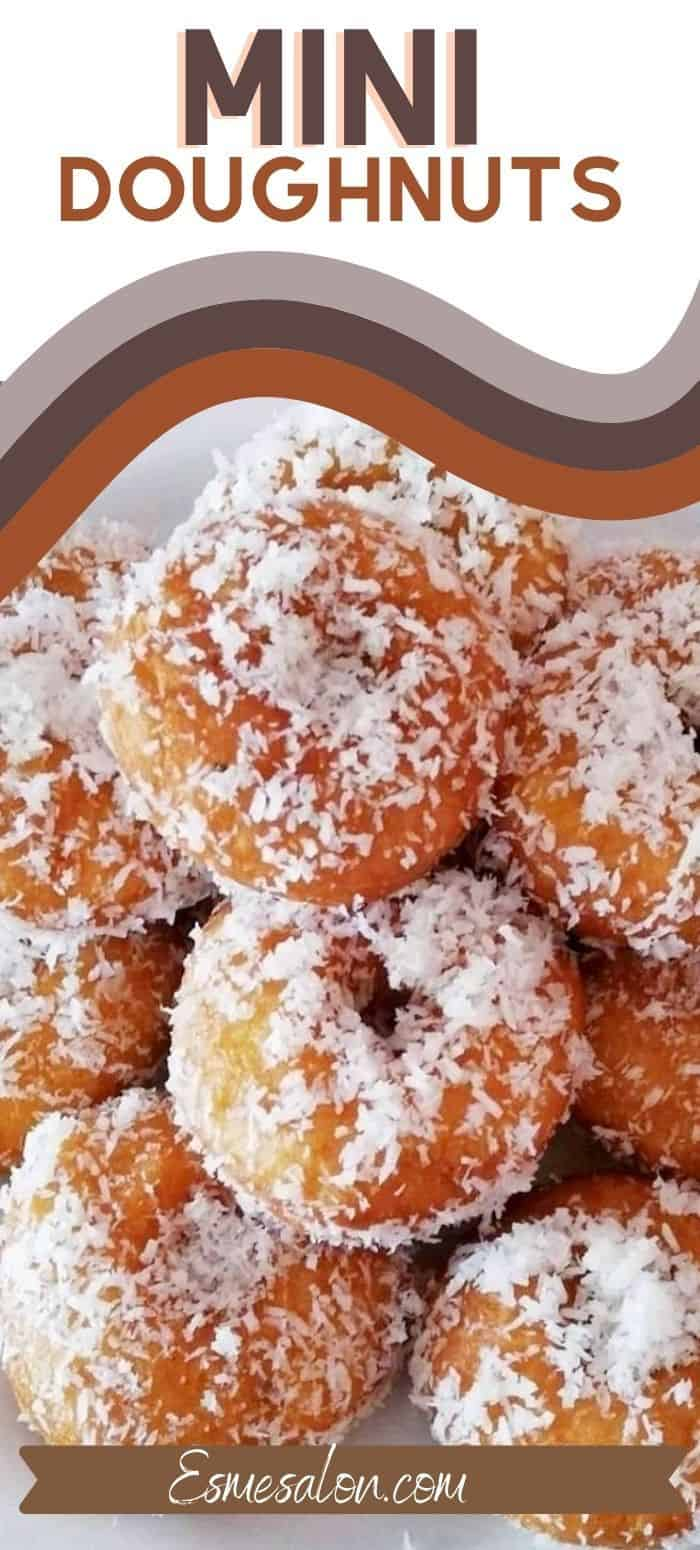 Mini Doughnuts with syrup and coconut
