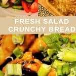 Fresh Salad with Best Ever Sticky Chicken Wings Salad Bread