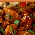 Crispy orange chicken with mushroom rice