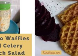 Potato Waffles and Celery Peach Salad