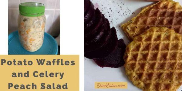 Potato Waffles Celery Peach Salad