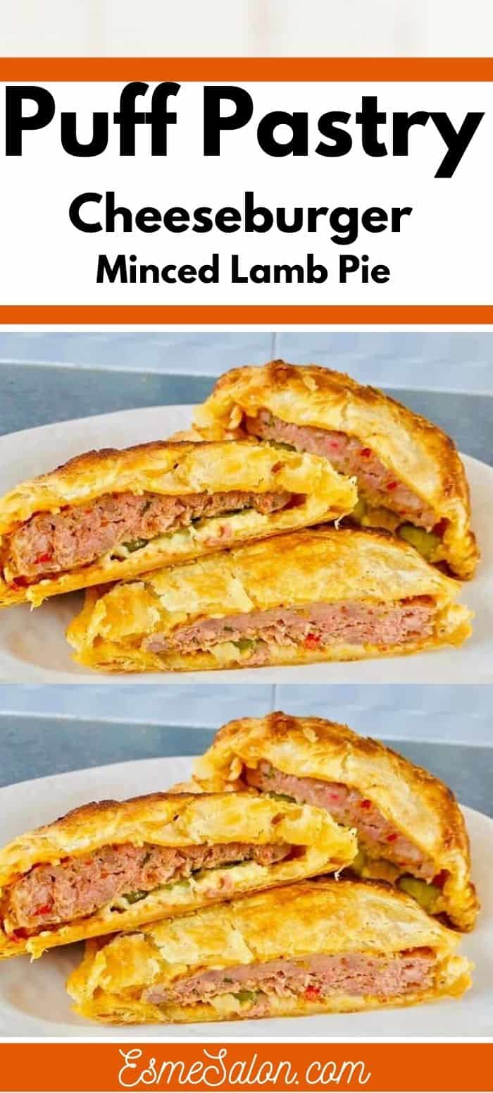 Puff Pastry Cheeseburger Minced Lamb Pie