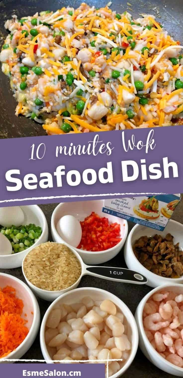 10 Minute Easy Mouthwatering Wok Seafood and Rice