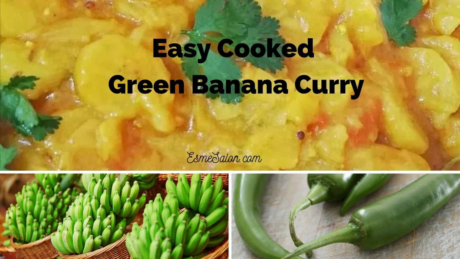 A recipes with unripe bananas for making a Curry salad or side dish