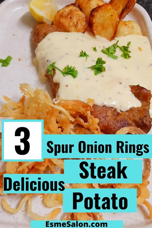 Steak, Cheese Sauce, Onion Rings