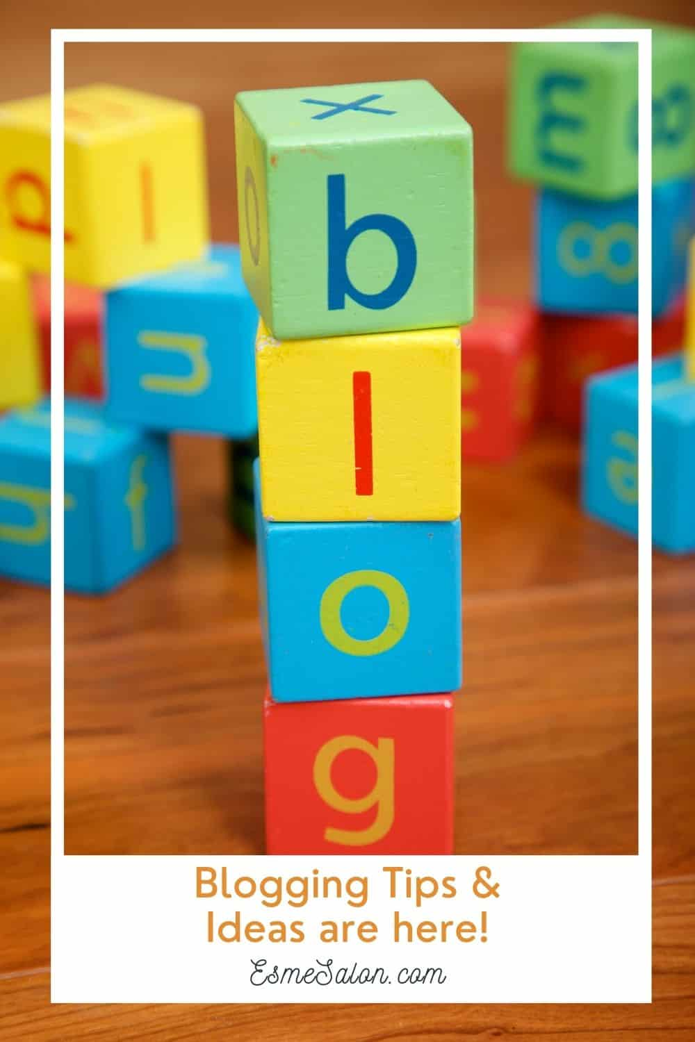 Colored block stacked to spell the word BLOG