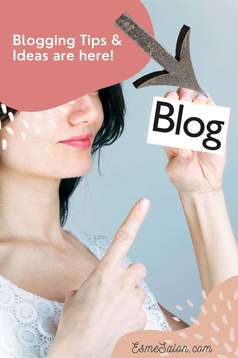 Lady pointing a finger at a BLOG sign