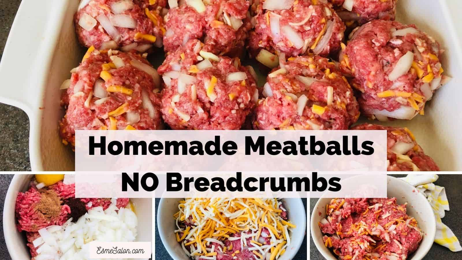 Homemade Meatballs NO Breadcrumbs ready to be baked in oven