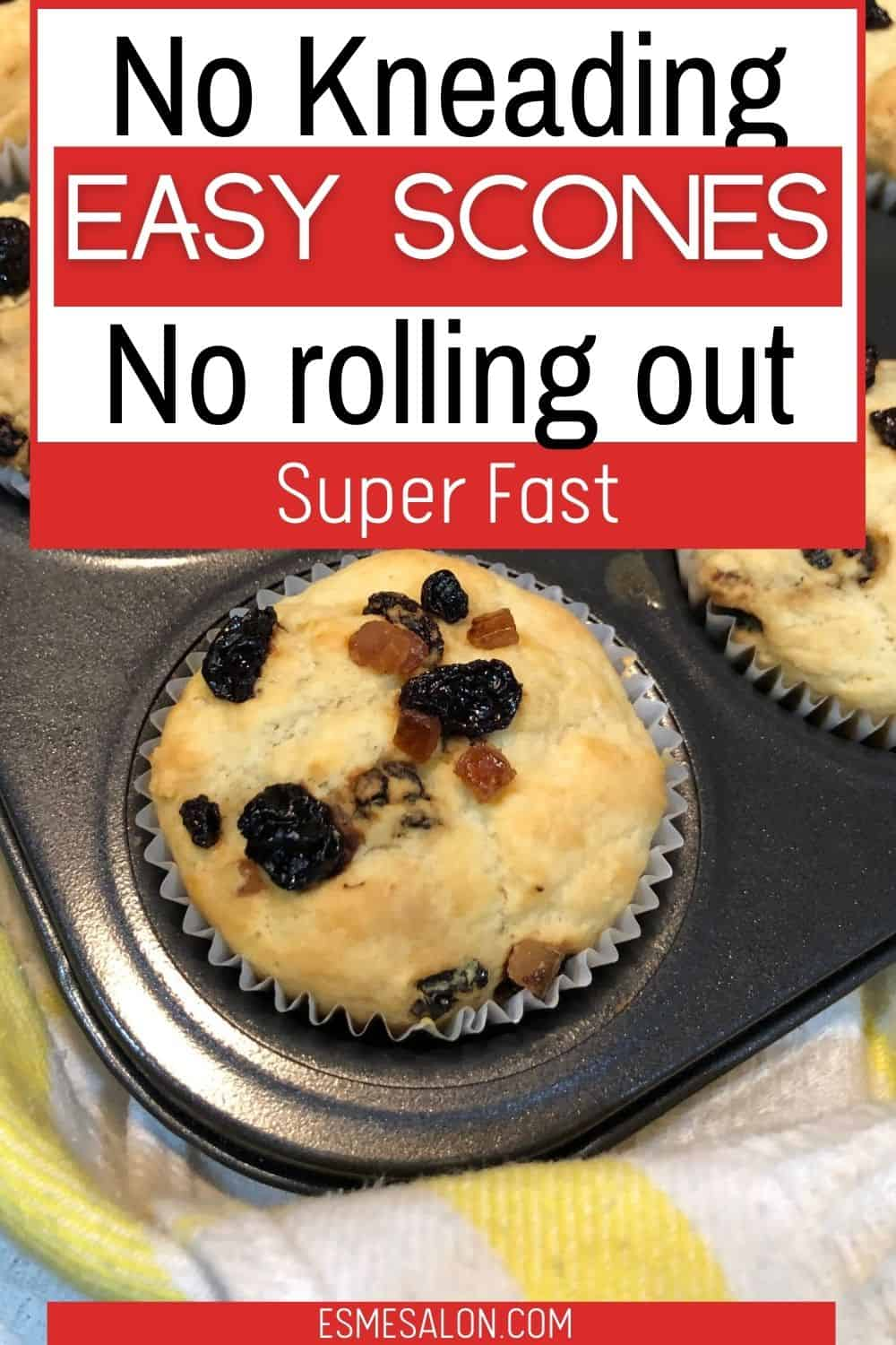 Fruit Scones, Super Easy, No Rolling out or Kneading and Scones