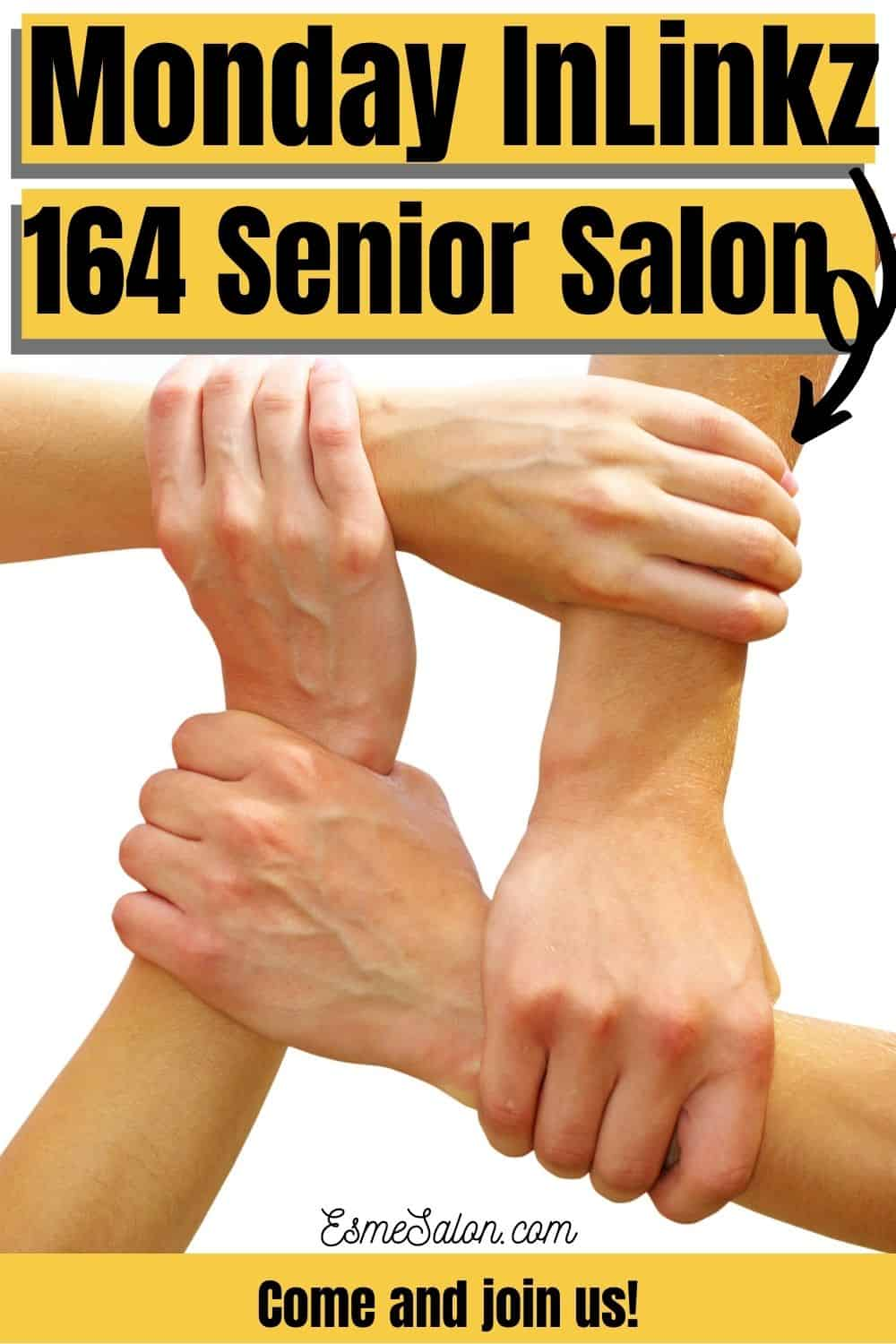 4 hands forming a link InLinkz Join us at 164 Senior Salon
