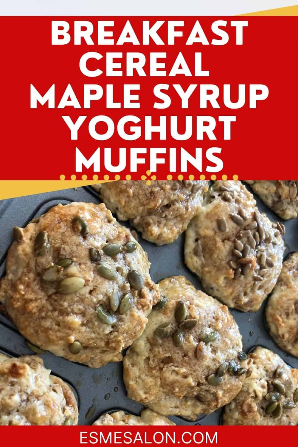 Baked Cereal Maple Syrup Yoghurt Muffins in muffin pan